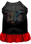 Technicolor Love Rhinestone Pet Dress Black with Red XS (8)