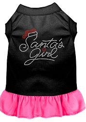 Santa's Girl Rhinestone Dog Dress Black with Bright Pink Med (12)