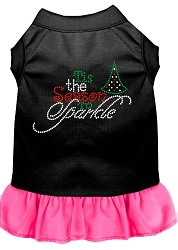Tis the Season to Sparkle Rhinestone Dog Dress Black with Bright Pink Med (12)