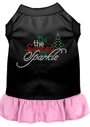 Tis the Season to Sparkle Rhinestone Dog Dress Black with Light Pink Med (12)