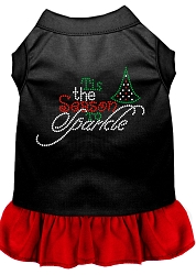 Tis the Season to Sparkle Rhinestone Dog Dress Black with Red Med (12)