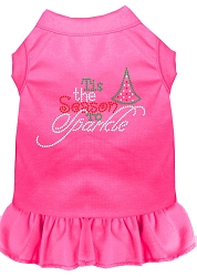 Tis the Season to Sparkle Rhinestone Dog Dress Bright Pink Med (12)