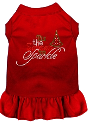 Tis the Season to Sparkle Rhinestone Dog Dress Red Med (12)