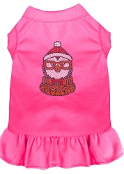 Hipster Penguin Rhinestone Dog Dress Bright Pink XS (8)