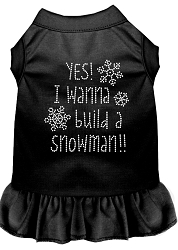 Yes! I want to Build a Snowman Rhinestone Dog Dress Black Med (12)