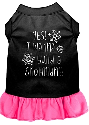 Yes! I want to Build a Snowman Rhinestone Dog Dress Black with Bright Pink XS (8)