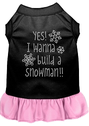 Yes! I want to Build a Snowman Rhinestone Dog Dress Black with Light Pink XS (8)