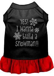 Yes! I want to Build a Snowman Rhinestone Dog Dress Black with Red XS (8)