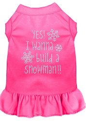 Yes! I want to Build a Snowman Rhinestone Dog Dress Bright Pink XS (8)