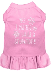 Yes! I want to Build a Snowman Rhinestone Dog Dress Light Pink XS (8)