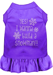 Yes! I want to Build a Snowman Rhinestone Dog Dress Purple Sm (10)
