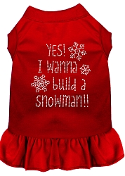 Yes! I want to Build a Snowman Rhinestone Dog Dress Red XS (8)