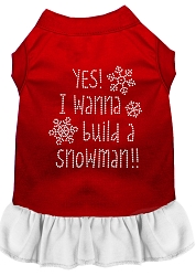 Yes! I want to Build a Snowman Rhinestone Dog Dress Red with White XS (8)