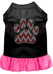Candy Cane Chevron Paw Rhinestone Dog Dress Black with Bright Pink Med (12)