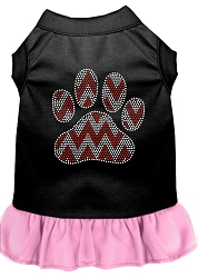 Candy Cane Chevron Paw Rhinestone Dog Dress Black with Light Pink Med (12)