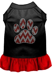 Candy Cane Chevron Paw Rhinestone Dog Dress Black with Red Med (12)