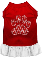 Candy Cane Chevron Paw Rhinestone Dog Dress Red with White Med (12)