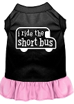 I ride the short bus Screen Print Dress Black with Light Pink XS (8)