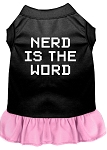 Nerd is the Word Screen Print Dress Black with Light Pink XS (8)