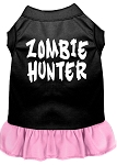 Zombie Hunter Screen Print Dress Black with Light Pink XS (8)