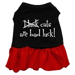 Black Cats are Bad Luck Screen Print Dress Black with Red XS (8)