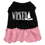 Wicked Screen Print Dress Black with Light Pink XS (8)