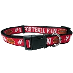 Football Dog Collar Red Medium