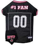 Football Pet Jersey and Bandana Combo Black Medium