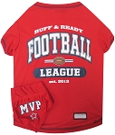 Football Pet Shirt with Bandana Red Large