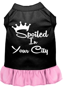Spoiled in Custom City Screen Print Souvenir Dog Dress Black with Light Pink XXL