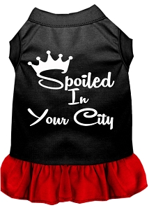 Spoiled in Custom City Screen Print Souvenir Dog Dress Black with Red Lg
