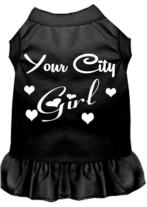 Custom City Girl Screen Print Souvenir Dog Dress Black XS