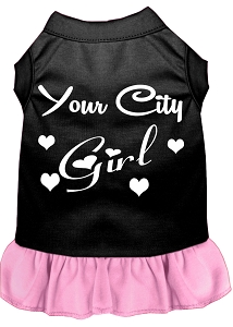 Custom City Girl Screen Print Souvenir Dog Dress Black with Light Pink Lg