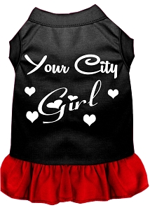 Custom City Girl Screen Print Souvenir Dog Dress Black with Red XS
