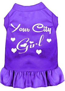 Custom City Girl Screen Print Souvenir Dog Dress Purple Sm