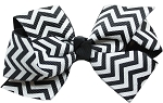 Hair Bow Chevron French Barrette Black