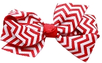 Hair Bow Chevron French Barrette Red