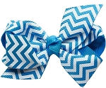 Hair Bow Chevron French Barrette Turquoise