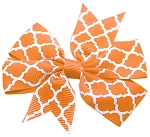 Hair Bow Quatrefoil French Barrette Orange