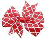Hair Bow Quatrefoil French Barrette Red