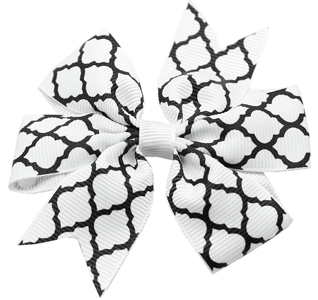 Hair Bow Quatrefoil Alligator Clip White