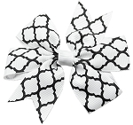 Hair Bow Quatrefoil French Barrette White