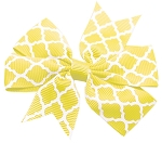 Hair Bow Quatrefoil French Barrette Yellow