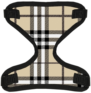 Cream Plaid Canvas and Mesh Pet Harness Medium