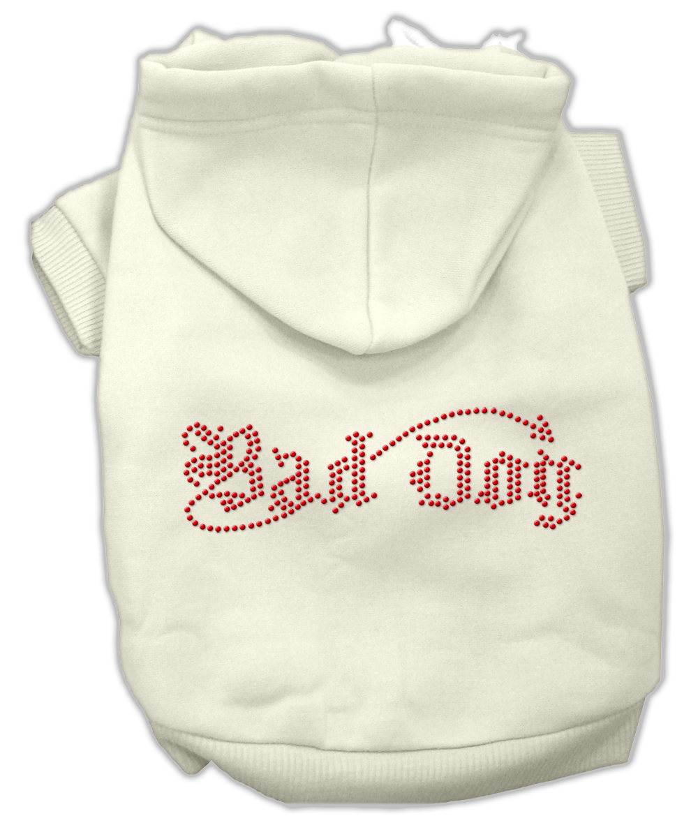 Bad Dog Rhinestone Hoodies Cream XS