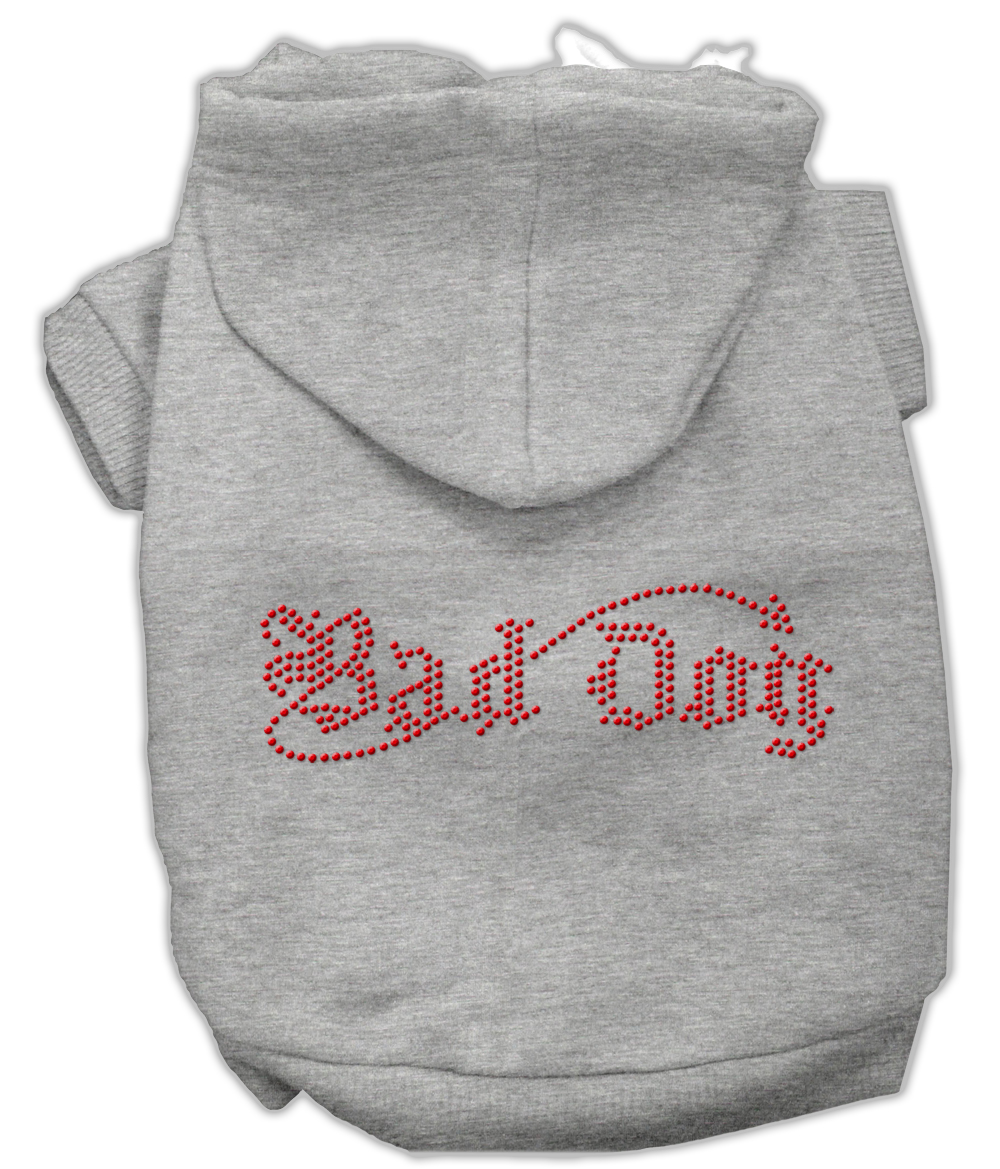 Bad Dog Rhinestone Hoodies Grey S