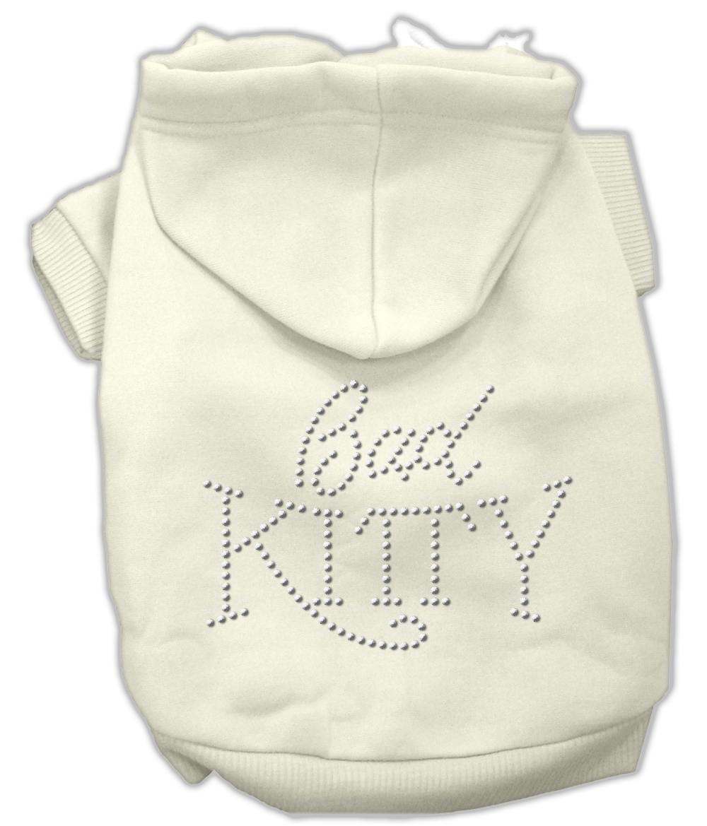 Bad Kitty Rhinestud Hoodie Cream XS