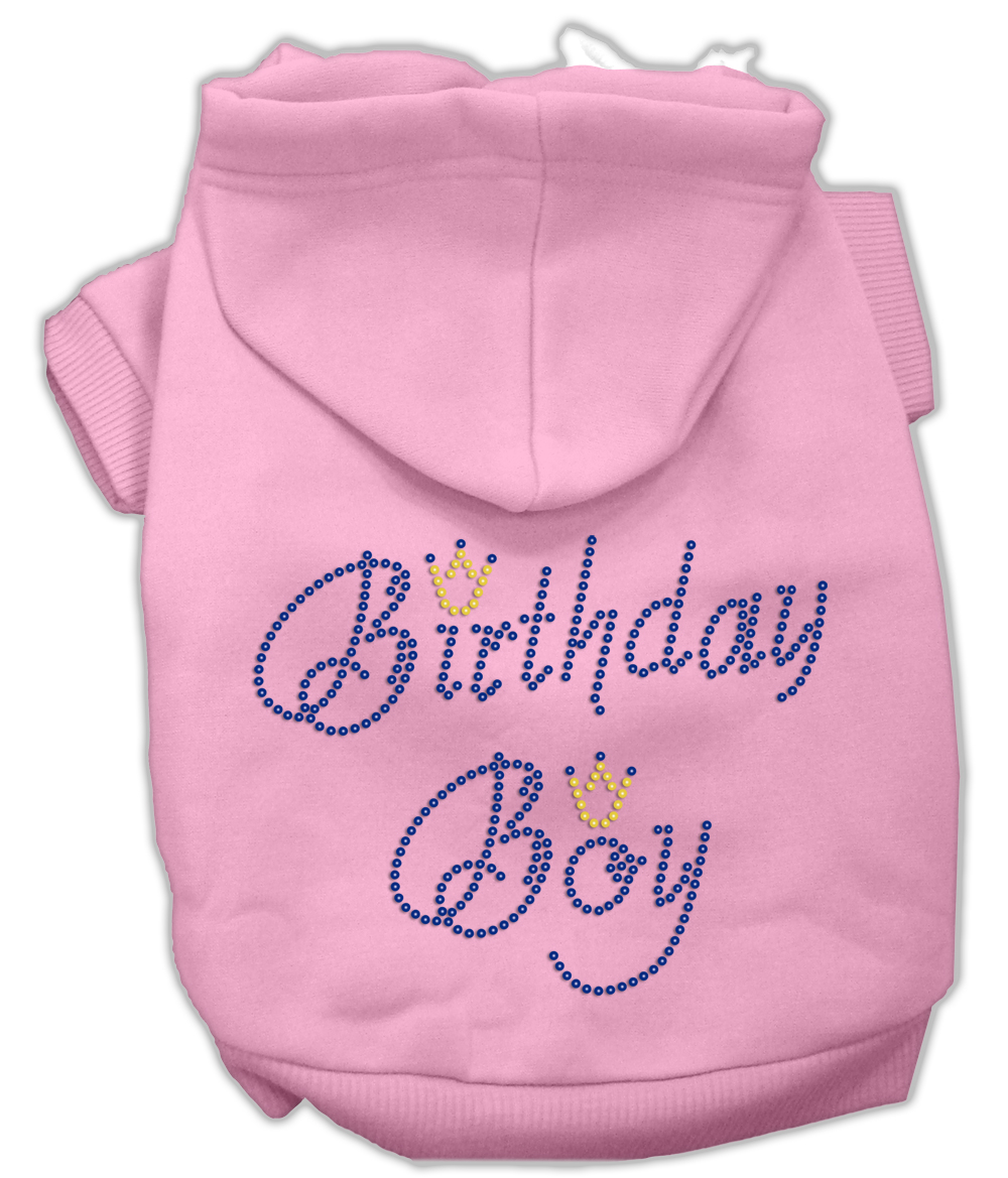 Birthday Boy Rhinestone Hoodie Light Pink XS