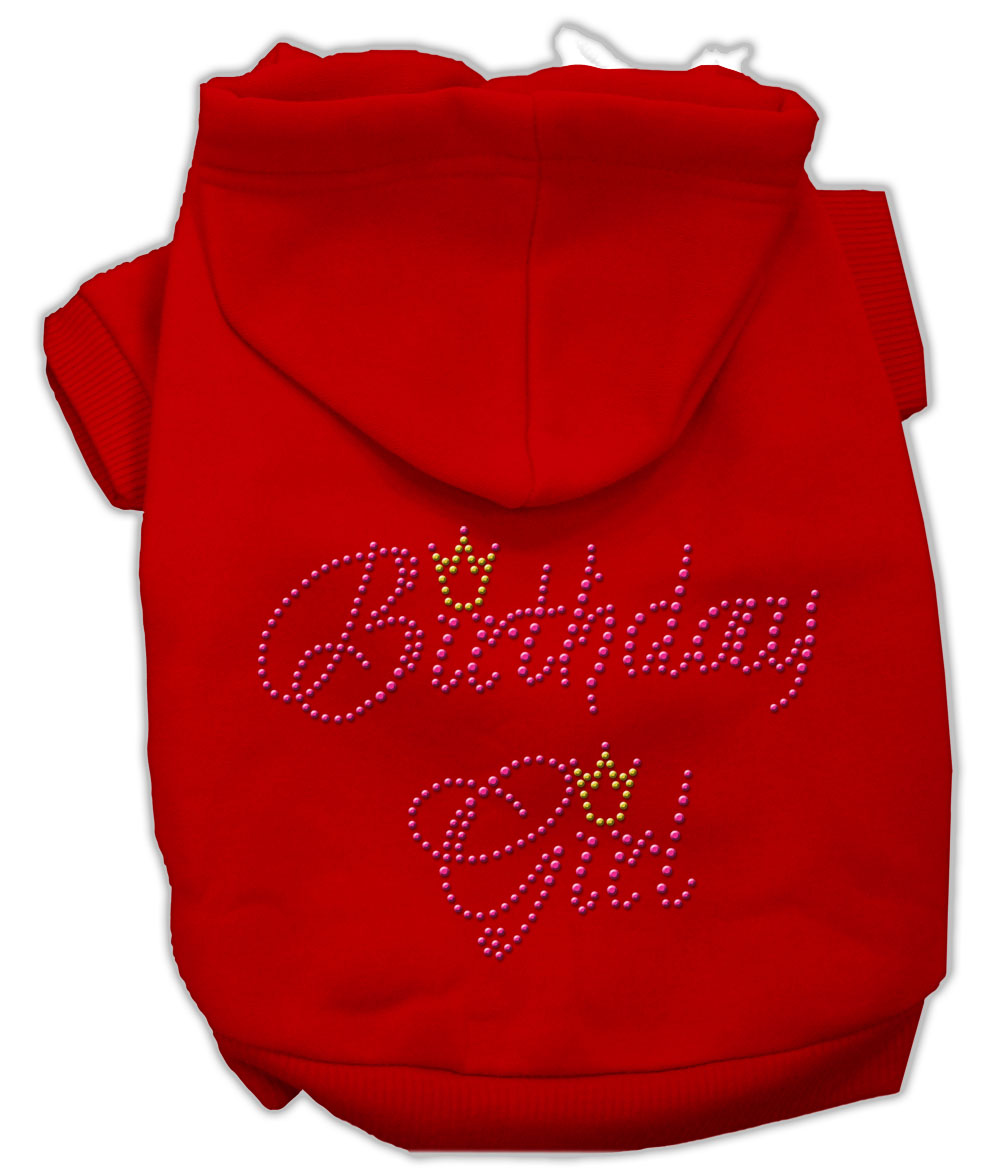 Birthday Girl Rhinestone Hoodie Red XS