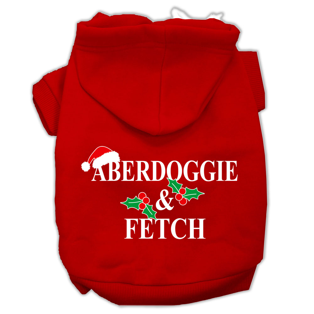 Aberdoggie Christmas Screen Print Pet Hoodies Red Size M